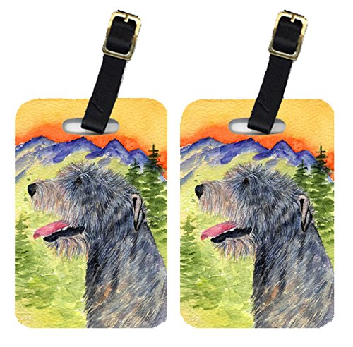 Caroline's Treasures SS8209BT Pair of 2 Irish Wolfhound Luggage Tags, Large, multicolor