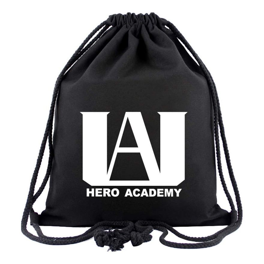 Mucloth BNHA U.A High School Logo Canvas Drawstring Backpack String Sport Gym Bag Black Unisex