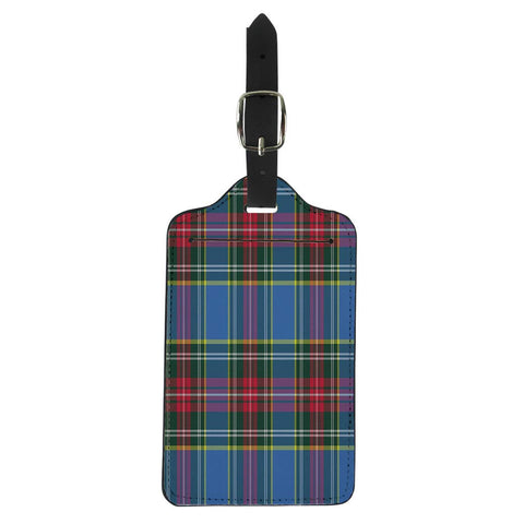 Pinbeam Luggage Tag Blue Abstract Macbeth Tartan Kilt Check Pattern Red Suitcase Baggage Label