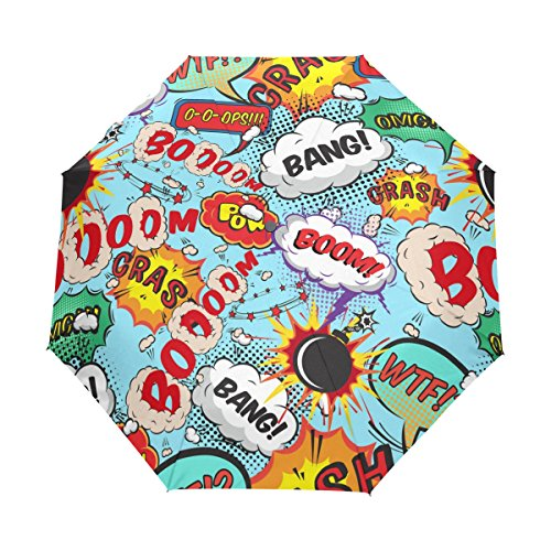 GIOVANIOR Comic Speech Bubbles Bang! Boom! Umbrella Double Sided Canopy Auto Open Close Foldable