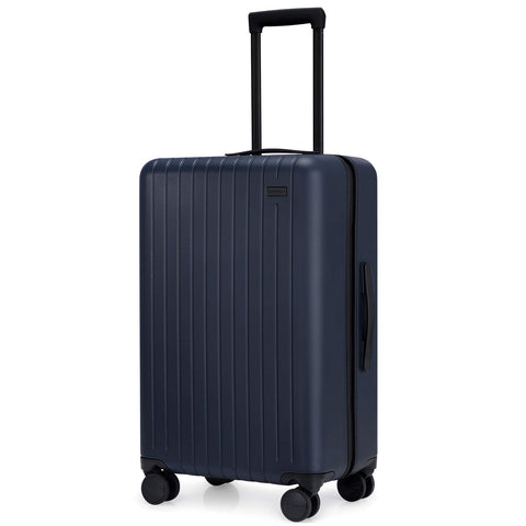 GoPenguin Hardside Luggage with Spinner Wheels, Medium 26 Inch Rolling Checked Suitcase PC Lightweight Blue