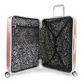 BEBE Women's Lydia 2 Piece Set Suitcase with Spinner Wheels, Rose Gold
