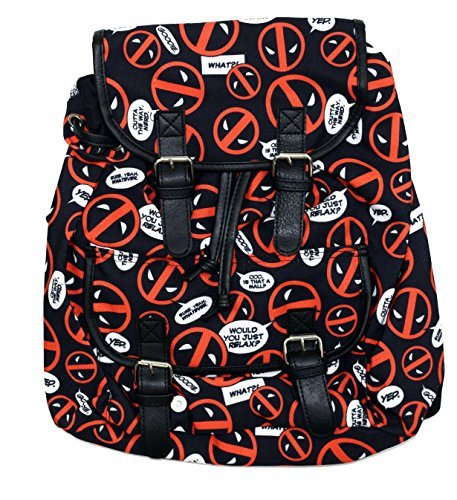 Marvel Deadpool All Over Logo Knapsack Backpack