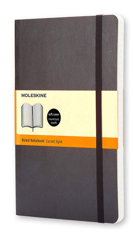 "Moleskine Classic Notebook, Soft Cover, Large (5"" x 8.25"") Ruled/Lined, Black"