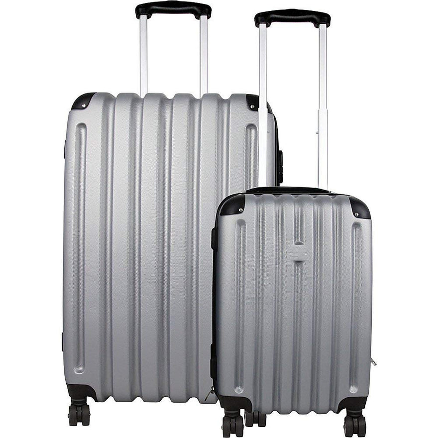 Bellino 2 Piece Hardside Spinner Luggage Set (Silver/Grey)