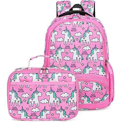 Backpack for Girls, CAMTOP Preschool Backpack with Lunch Box Toddler Kids School Bag Set (Pink-2)