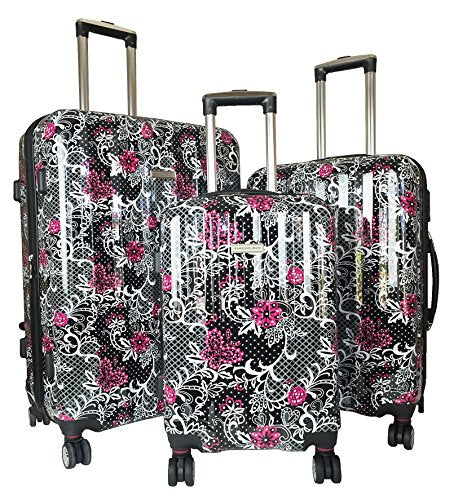 3Pc Luggage Set Suitcase Travel Hardside Rolling 4Wheel Spinner Carryon Pink Flowers