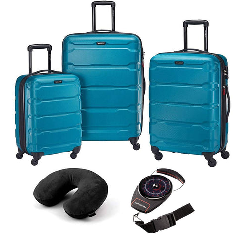 Samsonite 68311-2479 Omni Hardside Luggage Nested Spinner Set (20 Inch, 24 Inch, 28 Inch) - Caribbean Blue Bundle with Microbead Neck Pillow with Travel Pouch and Manual Luggage Scale