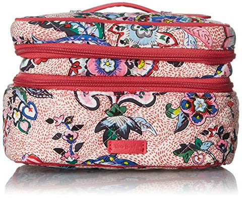 Vera Bradley womens Iconic Jewelry Train Case, Signature Cotton, Stitched Flowers, One Size