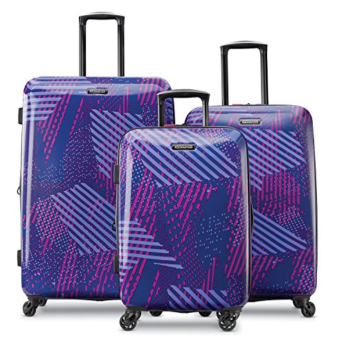 "American Tourister Moonlight Hardside 3 Piece Spinner Set 21"" 24"" And 28"" (Purple Storm)"