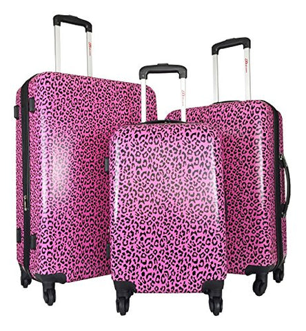 3Pc Luggage Set Hardside Rolling 4Wheel Spinner Carryon Travel Case Poly Pink Cheetah