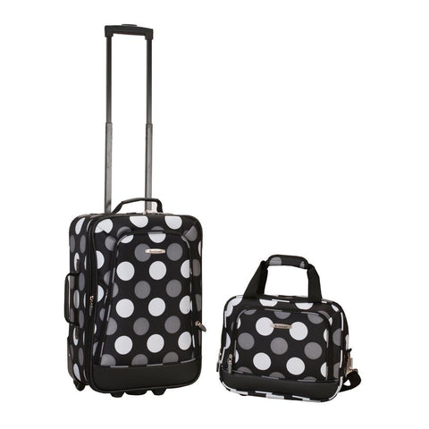 Rockland Printed 2 PC NEW BLK DOT LUGGAGE SET