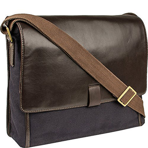 Scully Cambria Messenger Workbag (Brown Leather & Midnight Navy Canvas)
