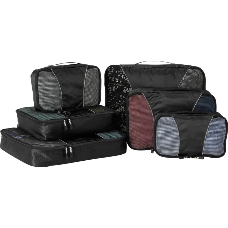 eBags Small/Medium/Large Packing Cubes for Travel - 6pc Sampler Set - (Black)