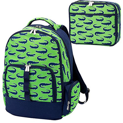 Personalized Reinforced Design Water Resistant Backpack and Lunch Sack Set, Later Gator