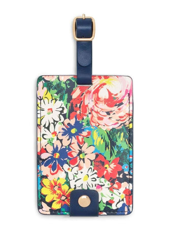 Ban.do Women's Getaway Leatherette Floral Luggage Tag with Strap, Flower Shop