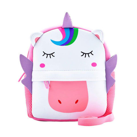 Toddler Backpack, Waterproof Children School Backpack with Chest Buckle, Neoprene Animal Schoolbag with Leash, Lunch Box Carry Bag for Boys Girls, Unicorn with Leash