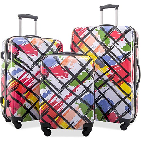 Flieks Graphic Print Luggage Set 3 Piece ABS + PC Spinner Travel Suitcase (Watercolor Painting)