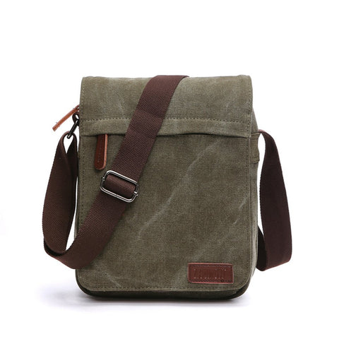 Sechunk Small Vintage Canvas Messenger Cross body bag Shoulder bag (m_Green, middle)