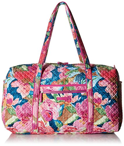 Vera Bradley Iconic Large Travel Duffel, Signature Cotton, Super bloom, One Size