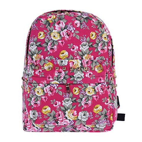 Damara Womens Vintage Allover Fashion Metal Rivet Expandable Backpack,Rose