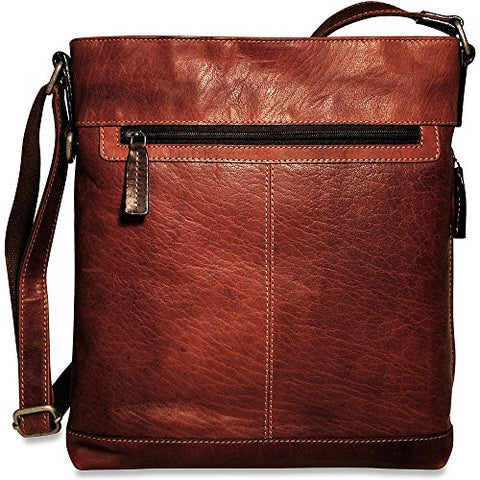 Jack Georges Mens Voyager Crossbody Bag in Brown