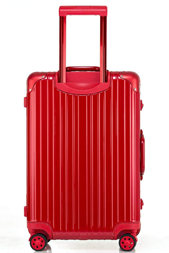 Swivel Wheel Trolley Case, Aluminum Frame Travel Case, Swivel Wheel Trolley Case + Pc Vertical Suitcase, Red, 26 inch