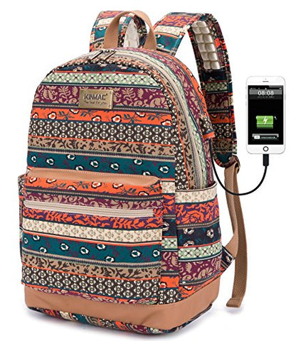 Kinmac Bohemian Water Resistant Laptop Backpack With Massage Cushion Straps For Laptop Up To