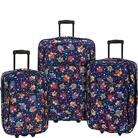 Elite Luggage Print 3 Piece Expandable Rolling Luggage Set (Owls)