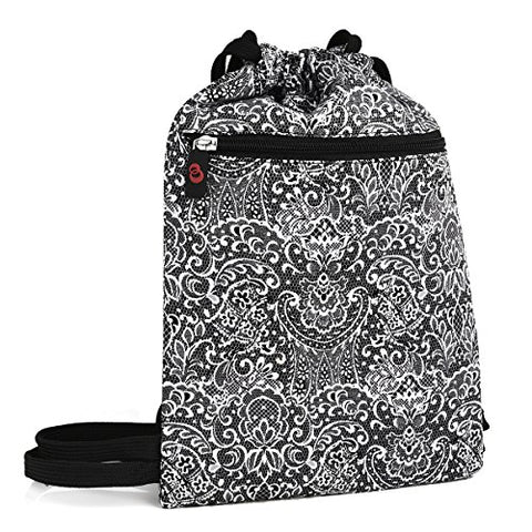 Black Paisley Printed Drawstring Backpack Bag Cute Cool Travel Backpack Boho Gypsy Festival Printed