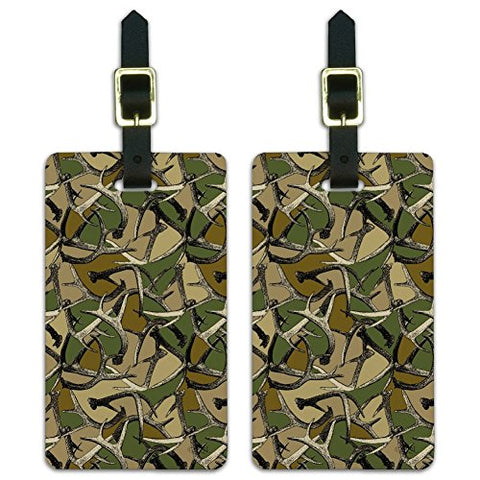 Antlers Camo Camouflage Hunting Hunter Luggage ID Tags Carry-On Cards - Set of 2