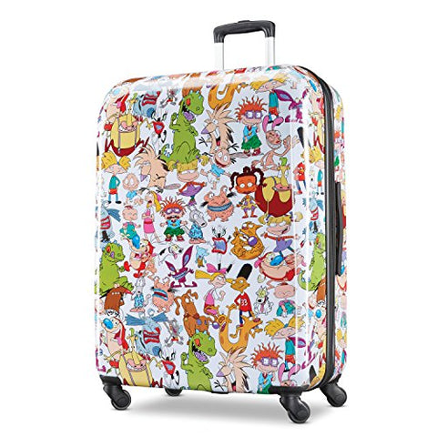 American Tourister Kids' Nickelodeon 90S Mash Up Hardside Spinner 28, White/Orange