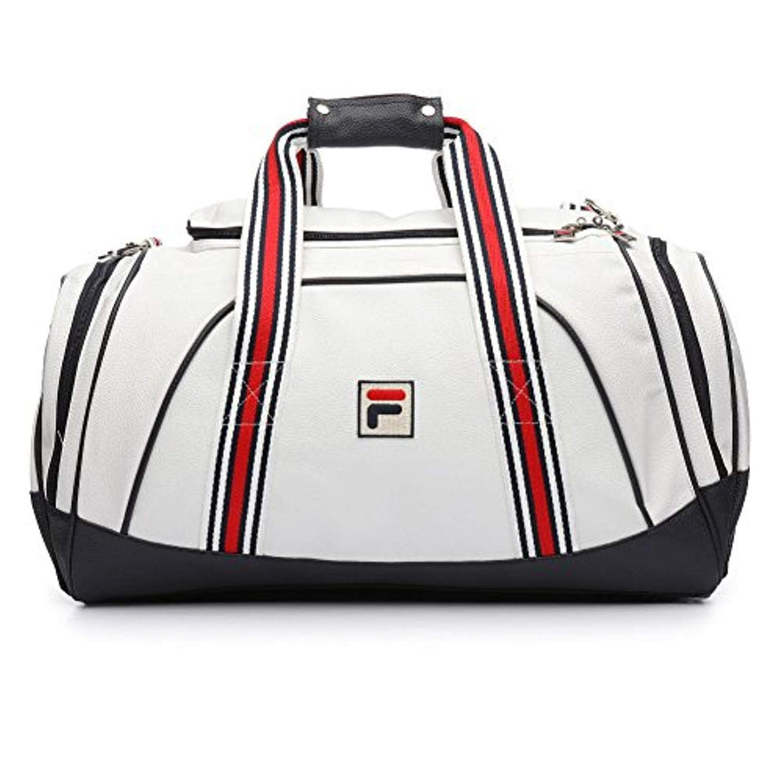 Fila Men's Striker Duffle Bag White/Navy/Chinese Red 1SZ & Towel Bundle