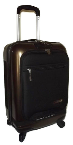 "Numinous London 20"" Carry-on 4 Wheel Spinner Smart Luggage Gold Brush"