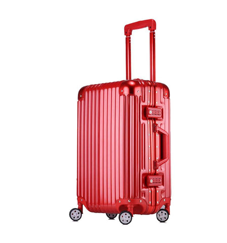 Trolley Suitcase, Caster Suitcase Trolley Suitcase, Retractable Suitcase, Hard-Shell Suitcase With Tsa Lock And 4 Casters, Red, 22 inch