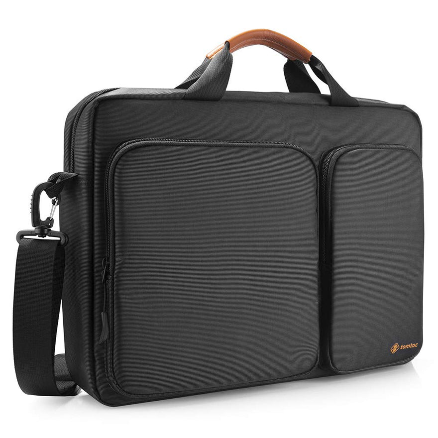 tomtoc Travel Messenger Bag 15.6 Inch with Protective Laptop Compartment Briefcase Shoulder Bag Fit for 13 - 15 Inch HP Dell Acer Lenovo Asus Samsung Notebook Tablet, Black
