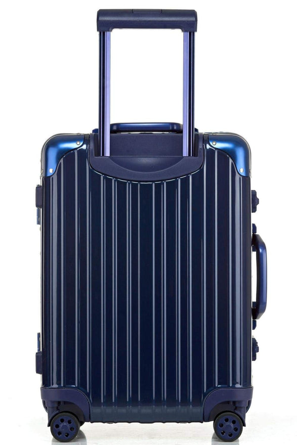 Swivel Wheel Trolley Case, Aluminum Frame Travel Case, Swivel Wheel Trolley Case + Pc Vertical Suitcase, Blue, 26 inch