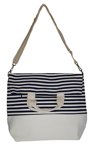 Messenger Style Inspired Stripe Beach Tote Bag (Navy Stripe)