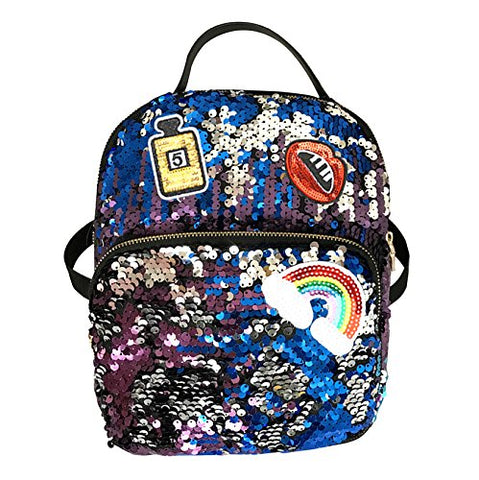 Aibearty Leather Backpack Small Sequin Daypacks Casual Bag