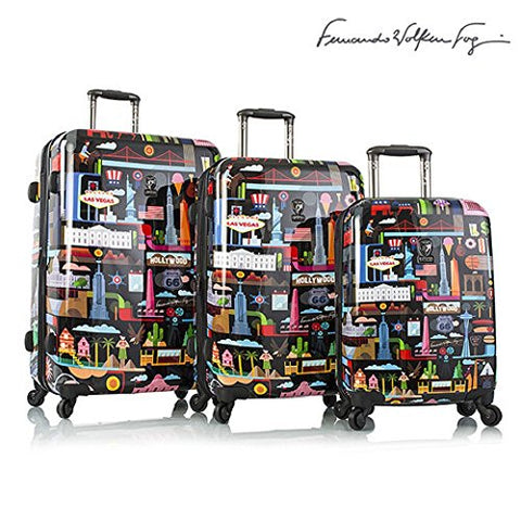 Heys Fernando Volken Togni -Fvt- Usa 3-Piece Spinner Luggage Set(Black)
