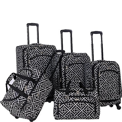 American Flyer Astor 5-Piece Spinner Luggage Set, Black/White, One Size