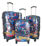 3Pc Luggage Set Hardside Rolling 4Wheel Spinner Carryon Travel Case Poly City