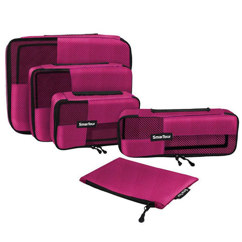 SmarTour packing cubes for travel - 4 Pieces luggage packing organizers with Shoe Bag (wine red 02)