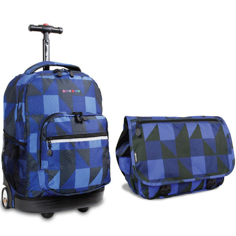 J World New York Sunrise Rolling Backpack & Terry Messenger Bag Set (Block Navy)