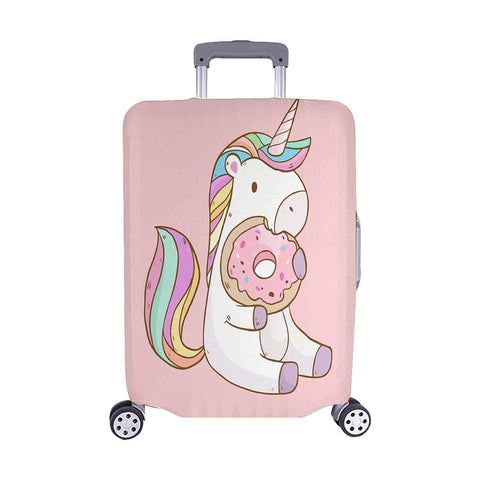 "InterestPrint Cute Cartoon Unicorn Eating Donuts Travel Luggage Cover Suitcase Baggage Protector Fits 22""-25"" Suitcase"