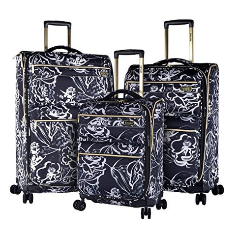 Kensie Luggage Kensie 3-Piece Softside Expandable Spinner Set, Black with White Flowers