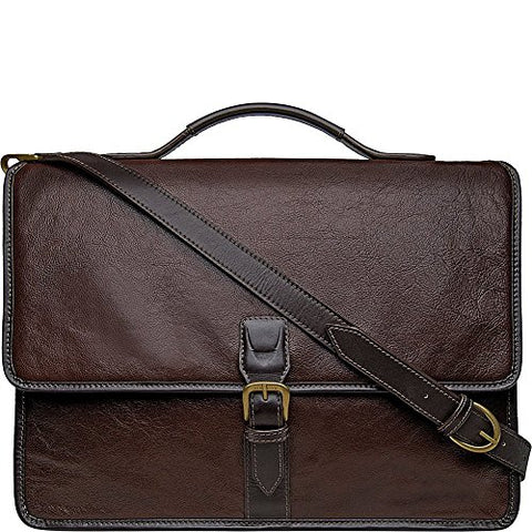Hidesign Harrison Buffalo Leather Laptop Briefcase, Brown