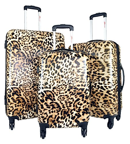 3Pc Luggage Set Hardside Rolling 4Wheel Spinner Carryon Travel Case Poly Leopard
