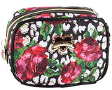 Betsey Johnson Roses Over Cheetah Cub Singular Cosmetic Case, Roses Over Chetah, One Size