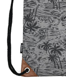 SAMGOO Drawstring Bag Canvas Lightweight Coconut Palm tree Printing Art Gym Sack Sport Bags Backpack (Grey)